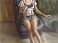 青年女人体油画图片,坐在沙发上的女人