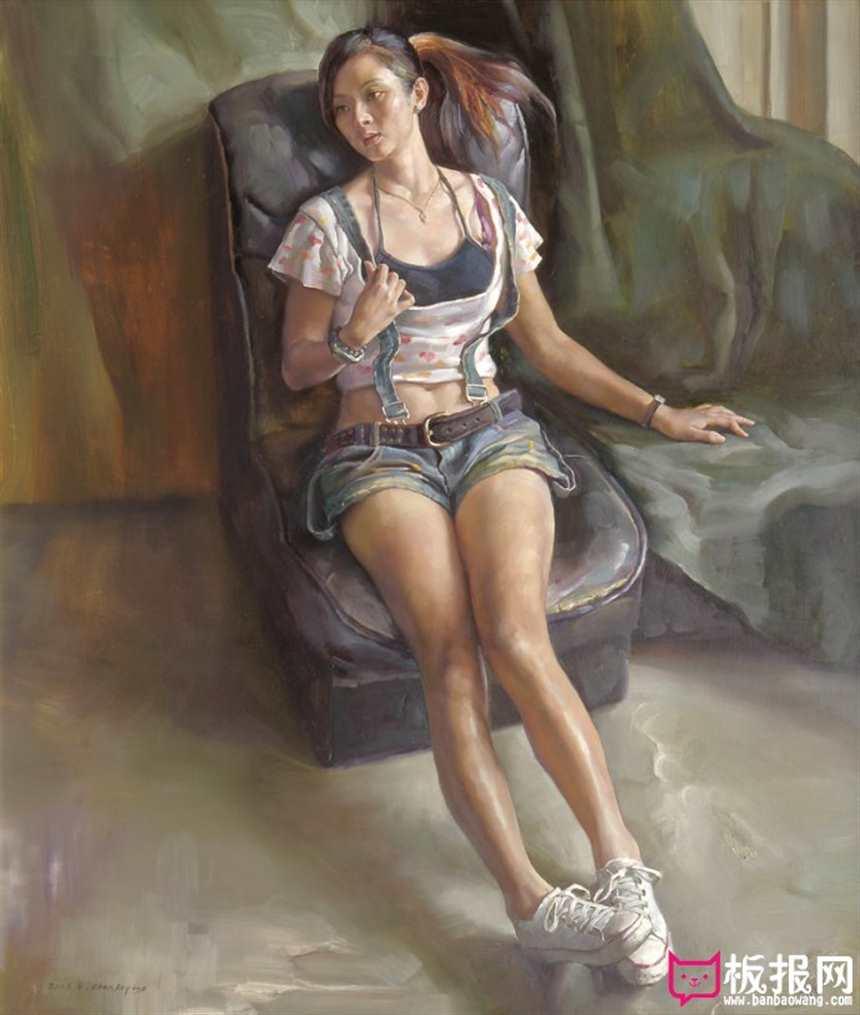 青年女人体油画图片,坐在沙发上的女人(点击浏览下一张趣图)